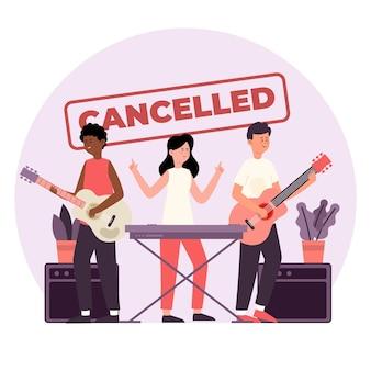 Eventos musicais cancelados com banda ao vivo