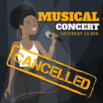 Eventos musicais cancelados com cantora