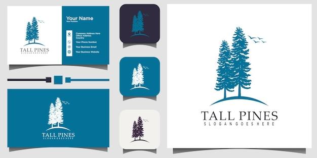 Evergreen, tall pines, spruce, cedar trees forest nature logo design