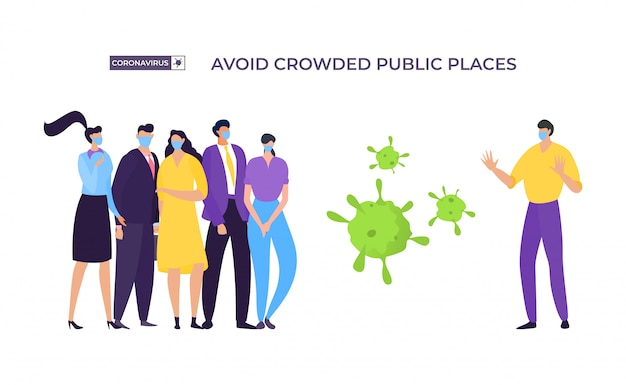 Evite banner de lugar lotado, ilustração de proteção contra coronavírus. homem mascarado afasta-se das pessoas do grupo para evitar infectados