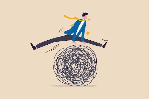 Evite riscos de problemas de negócios, pensamento inteligente para superar obstáculo de dificuldade ou problema emocional