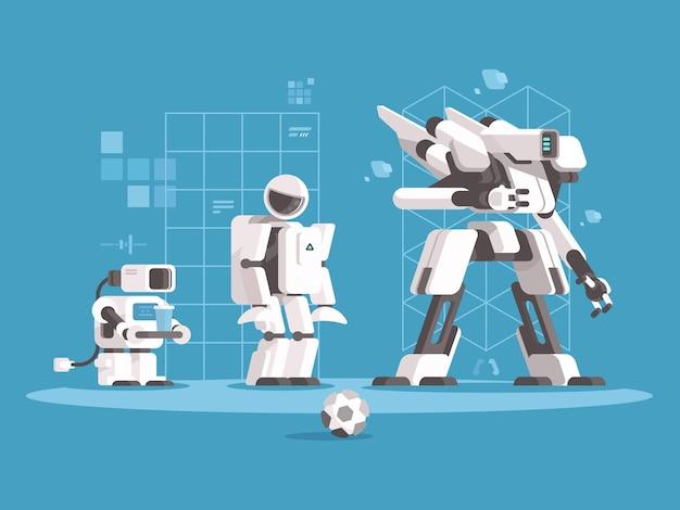Evolução da robótica. conjunto de robôs de várias gerações. ilustração