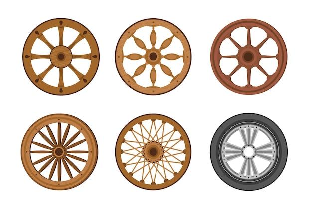 Evolução das rodas do antigo e antigo anel de madeira para a moderna roda de transporte