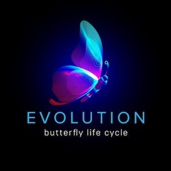 Evolução do ciclo de vida da borboleta. silhueta de néon de mariposa voadora em estilo de linha de arte 3d. ilustração em vetor de brilhante papillon wireframe vista lateral isolada em um fundo escuro