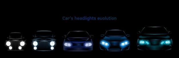 Evolução dos faróis do carro, banner de faróis dianteiros a brilhar