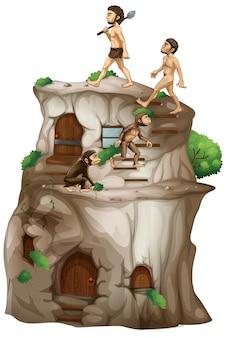 Evolução humana chegando a casa de pedra