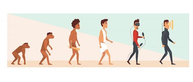 Evolução humana e futuro. ilustração