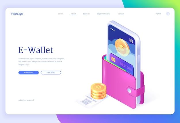 Ewallet isométrico da página de destino para pagamento sem dinheiro