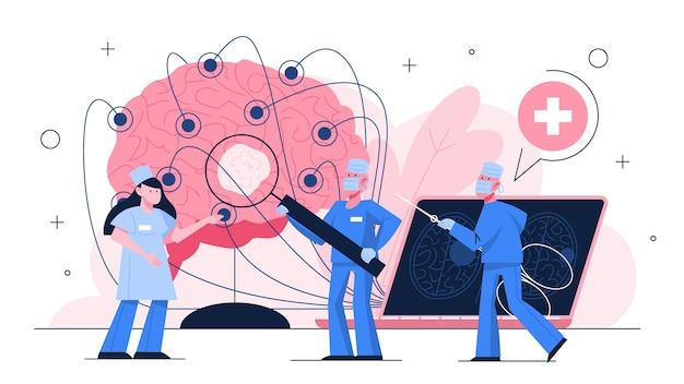 Exame de câncer cerebral. doutor em pé no grande cérebro. ideia de saúde e tratamento médico. o médico detectou um tumor cerebral com ressonância magnética. ideia de saúde. ilustração