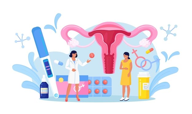 Exame de ginecologia para mulheres. o médico ginecologista consulta o paciente sobre as trompas de falópio, doenças dos ovários. exame, tratamento e terapia do sistema reprodutor feminino