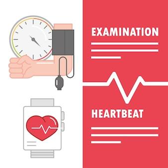 Exame de hipertensão, batimento cardíaco