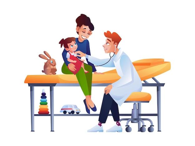 Exame de menina criança pelo pediatra no hospital