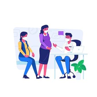 Exame de mulher grávida na clínica durante a situação de pandemia de covid19 estilo de desenho animado plano