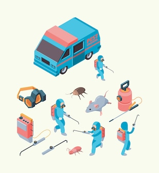 Exame de pragas. serviço de desinfecção de insetos veneno químico para controle de pragas conjunto isométrico de extermínio de roedores. serviço de controle de pragas, ilustração profissional de desinfecção