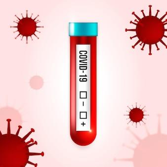 Exame de sangue de coronavírus com vírus ilustrados