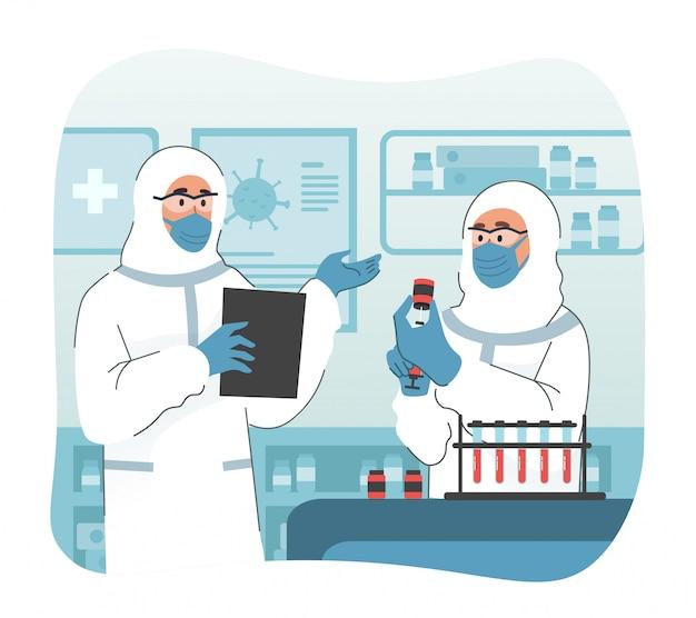 Exame de sangue de coronavírus. doutor, segurando o tubo de ensaio com sangue do paciente