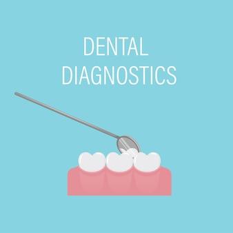 Exame dentário dos dentes com espelho. consulta odontológica preventiva profissional. higiene bucal.