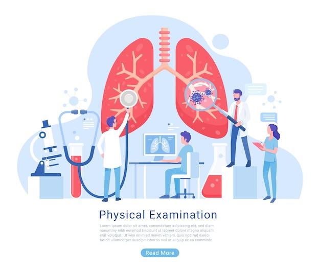 Exame do sistema físico e respiratório e ilustração do tratamento