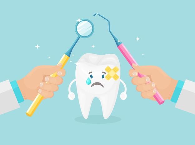Exame dos dentes. dentista segura instrumentos nas mãos para examinar o dente do paciente. conceito de estomatologia.