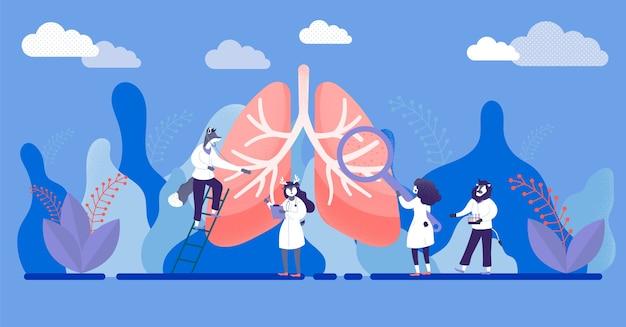 Exame e tratamento abstratos do sistema respiratório