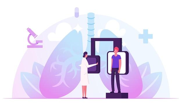 Exame fluorográfico, checkup de diagnóstico médico por raio-x. ilustração plana dos desenhos animados