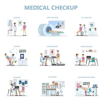Exame médico completo com paciente e médicos.
