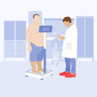 Exame médico do paciente no hospital médico e paciente na clínica de obesidade