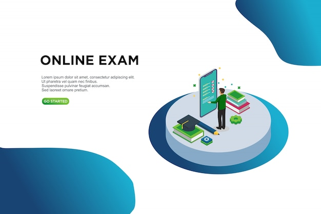 Exame on-line, conceito de ilustração vetorial isométrica.