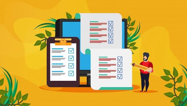 Exame on-line vector teste pesquisa resultado questionário formulário resposta