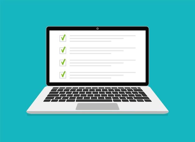 Exame online, lista de verificação e teste online na tela do laptop. formulário de pesquisas online na tela do computador. design plano. ilustração.