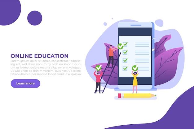 Exame ou teste online, e-lerning, internet quiz, conceito de educação online.