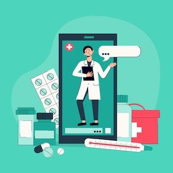 Exames de telemedicina realizados por vídeo chat em smartphone com médico composição online com medicação recomendada