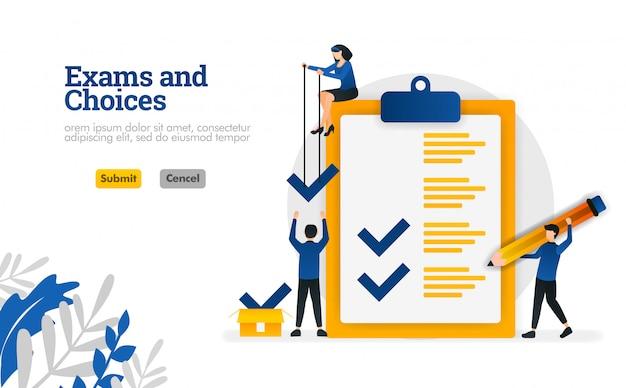 Exames e escolhas personagem plana para aprendizagem e consultores de pesquisa conceito de ilustração vetorial