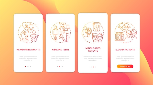 Exames físicos de rotina faixas etárias integrando conceitos de tela de página de aplicativo móvel. recém-nascidos e pacientes idosos apresentam instruções gráficas de 4 etapas. modelo de interface do usuário com ilustrações coloridas rgb