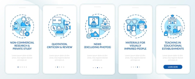 Exceções de direitos autorais na tela da página do aplicativo móvel com conceitos. pesquisa privada, crítica passo a passo 5 etapas de instruções gráficas.