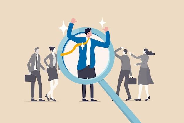 Excelente candidato vencedor para posição de trabalho, destaque-se da multidão, conceito de pessoa notável, diferente ou distinta, empresário de confiança se destaca no recrutamento de lupa de recursos humanos.