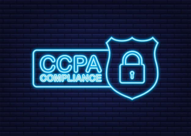 Excelente design ccpa para qualquer finalidade ícone de néon do vetor de segurança informações do site