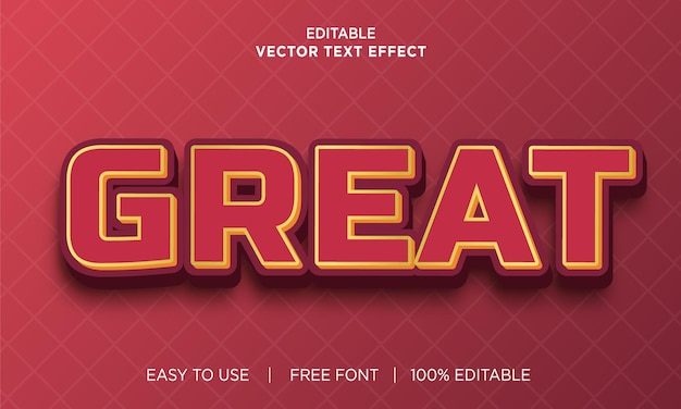 Excelente design de efeito de texto editável com vetor premium