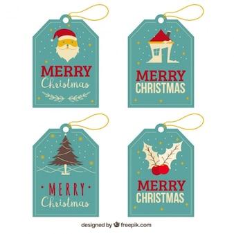 Excelente pacote de quatro etiquetas azuis com elementos do natal