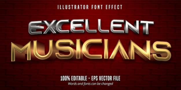 Excelente texto de músicos, efeito de fonte editável em ouro e prata estilo metálico 3d Vetor Premium