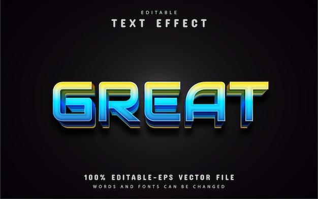Excelente texto, efeito de texto em estilo gradiente azul
