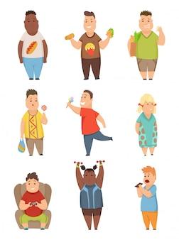 Excesso de peso, meninos meninas, jogo, cute, gordinho, crianças, caricatura, caráteres, comer, rapidamente, alimento, vetorial, ilustração