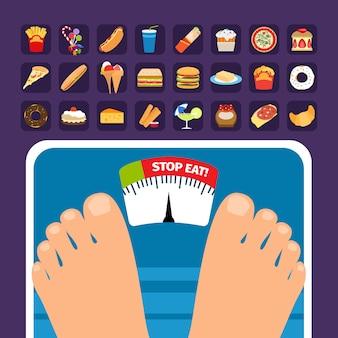 Excesso de peso no conceito de escala com ícones de doces