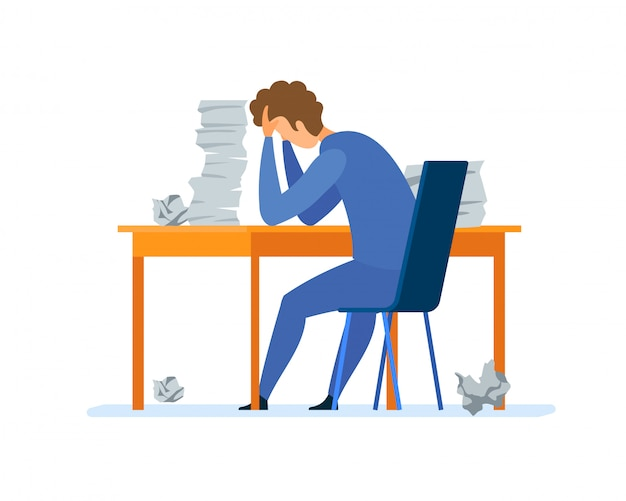 Excesso de trabalho, ilustração de vetor plana de rotina de escritório