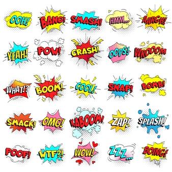 Exclamação mensagens de texto em quadrinhos assina em bolhas do discurso