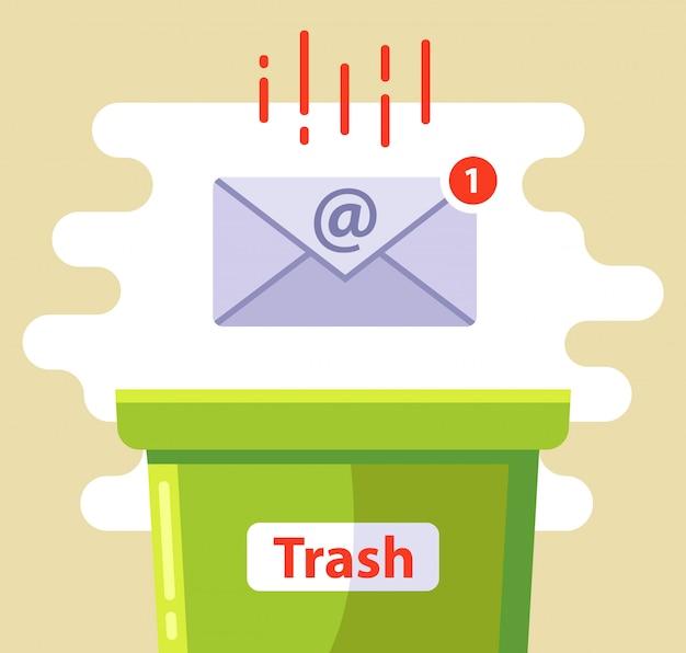 Exclua o e-mail na lata de lixo de spam. ilustração.