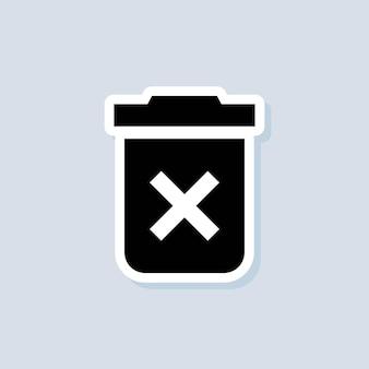 Excluir adesivo do botão. ícone de lata de lixo. cesta de lixo. vetor em fundo isolado. eps 10.