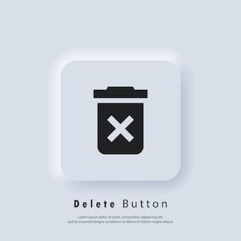Excluir o ícone do botão. ícone de lata de lixo. cesta de lixo. vetor eps 10. ícone de interface do usuário. botão da web da interface de usuário branco neumorphic ui ux. neumorfismo