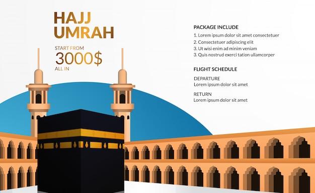 Excursão moderna simples do hajj e umrah viaja modelo de publicidade com ilustração realista de caaba.