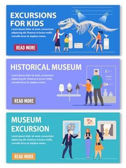 Excursões para crianças e adultos banner do cabeçalho do anúncio